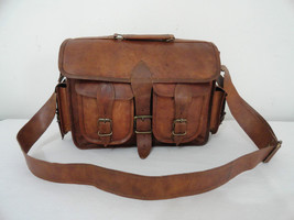 "14"" Real Leather DSLR Camera Bag Padded Briefcase Macbook Satchel Messenger bag image 2"