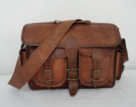 "14"" Real Leather DSLR Camera Bag Padded Briefcase Macbook Satchel Messenger bag image 3"