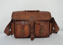"14"" Real Leather DSLR Camera Bag Padded Briefcase Macbook Satchel Messenger bag image 4"