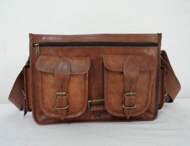 "14"" Real Leather DSLR Camera Bag Padded Briefcase Macbook Satchel Messenger bag image 7"