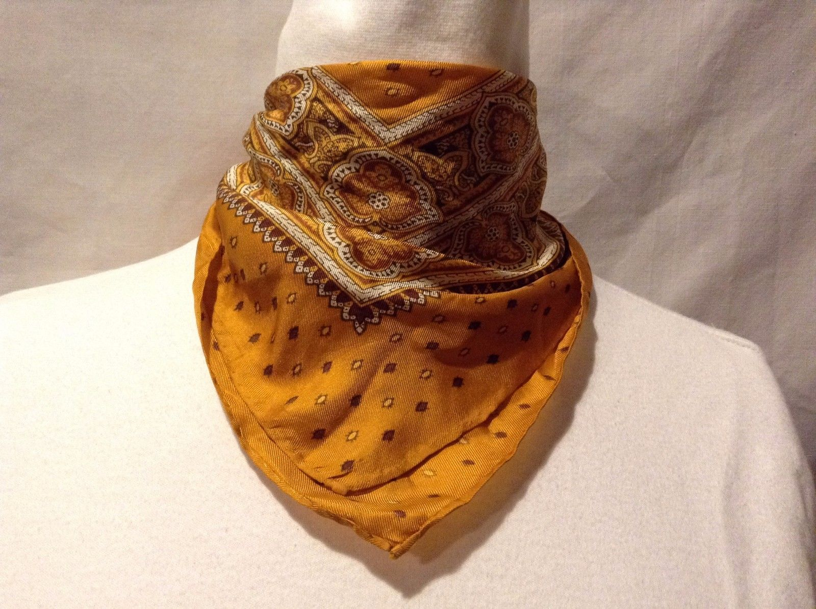 Great Used Condition Orange White Brown Yellow Paisley Bordered Scarf