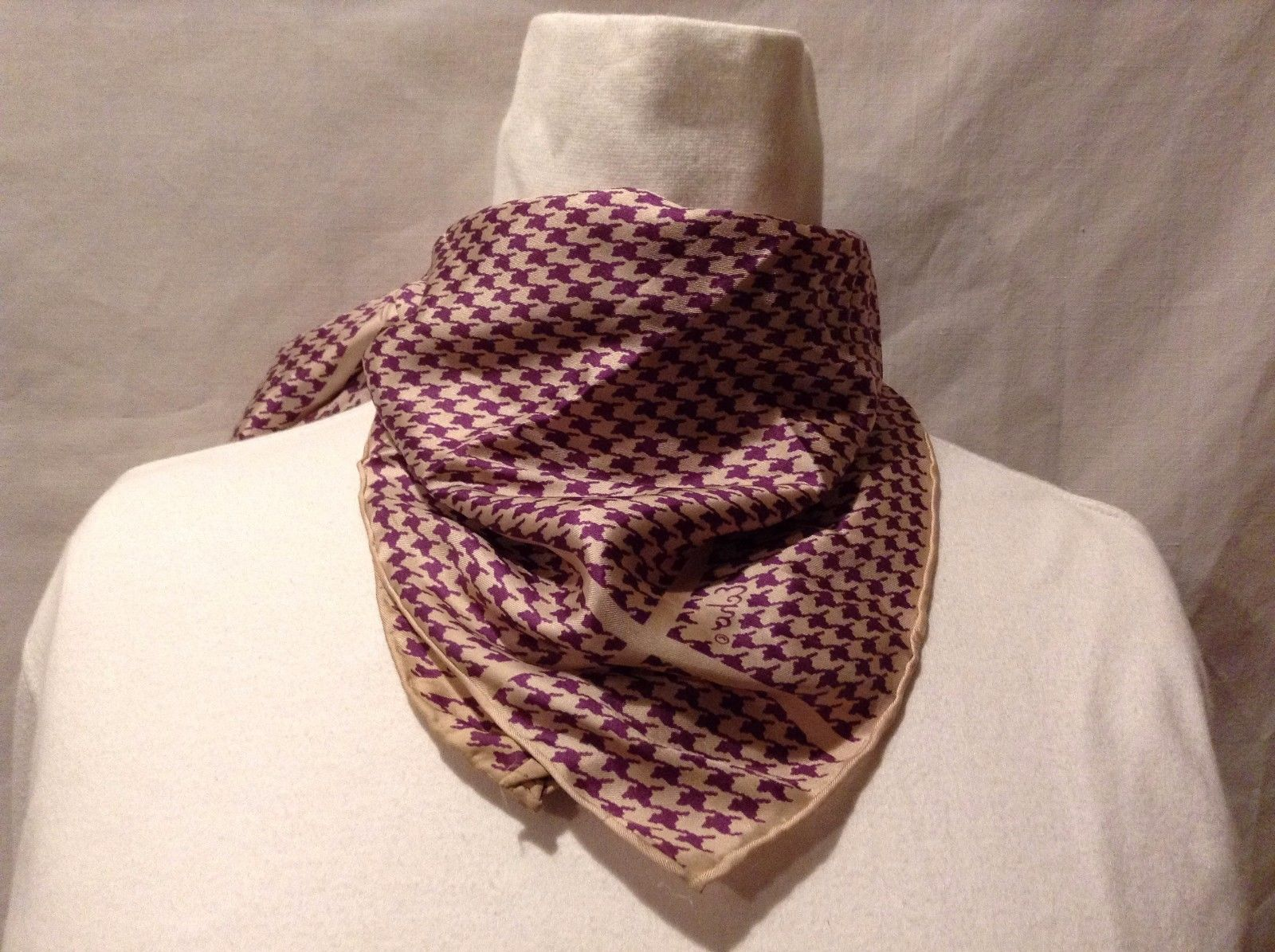 Great Used Condition Echo Cotton Silk Blend Houndstooth Tan Purple Scarf