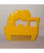 Vintage Train Steam Engine Novelty Comb Shape Yellow Child's Toy Wide Tooth - $9.46