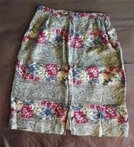 Talbots Floral  Paisley A Line Linen Skirt Womens  Size 8 Career Knee Length - $12.76
