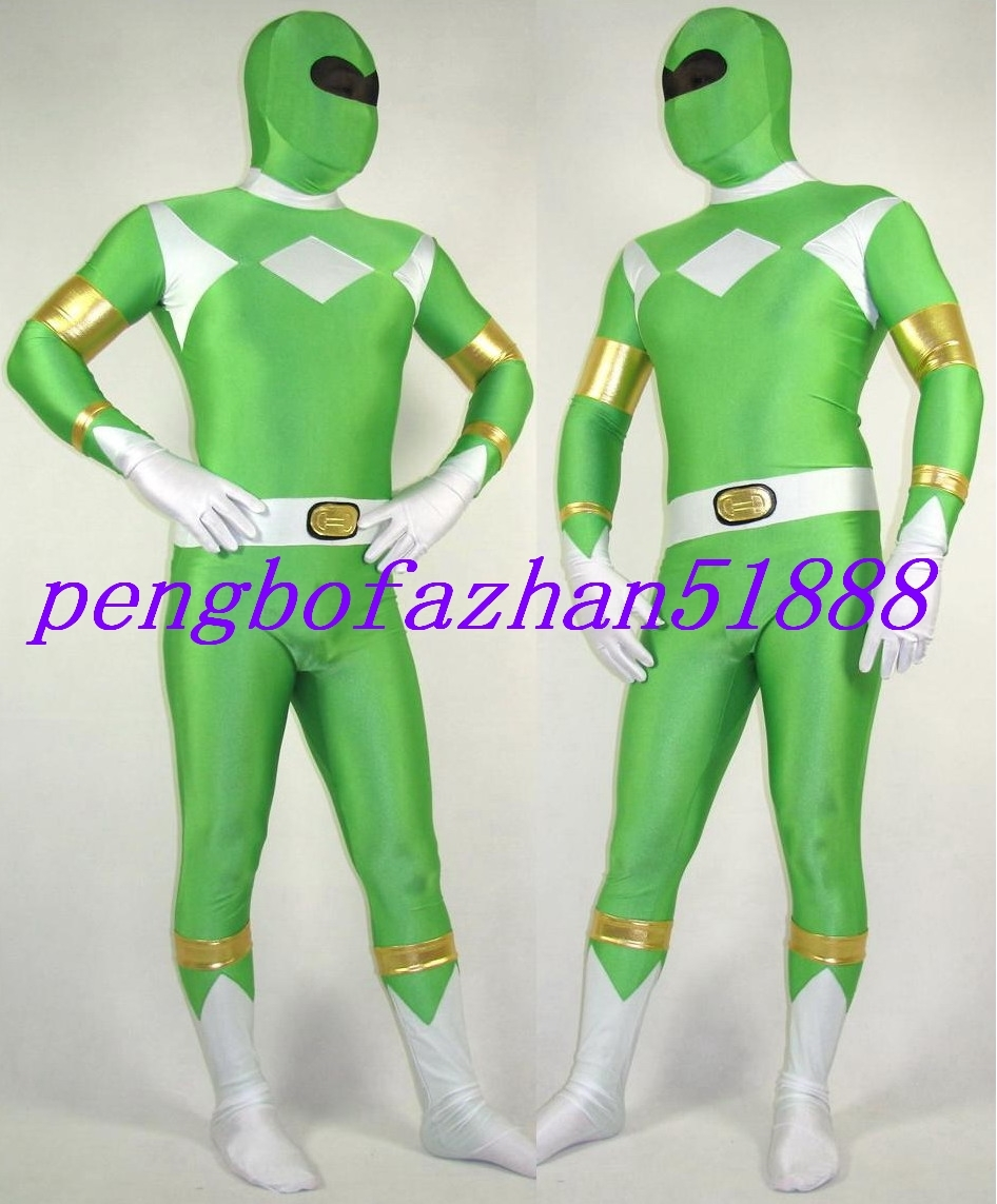 GREEN LYCRA POWER RANGER SUIT CATSUIT COSTUMES HALLOWEEN COSPLAY SUIT S247