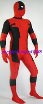 HALLOWEEN COSPLAY SUIT BLACK/RED LYCRA DEADPOOL SUIT CATSUIT COSTUMES S255 image 2