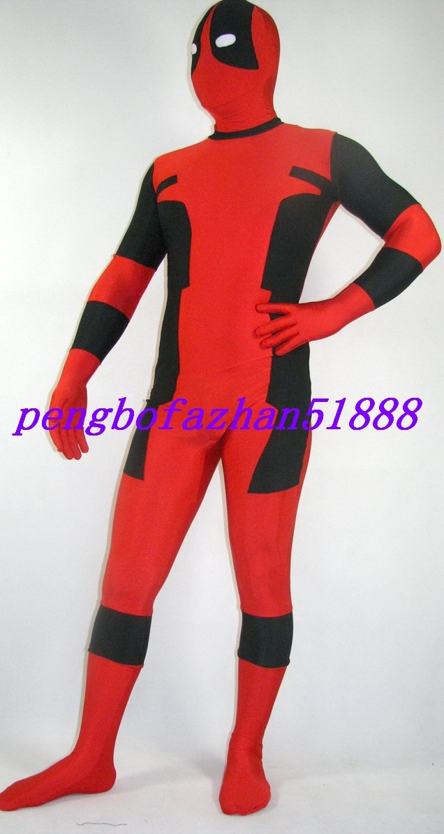 HALLOWEEN COSPLAY SUIT BLACK/RED LYCRA DEADPOOL SUIT CATSUIT COSTUMES S255 image 3