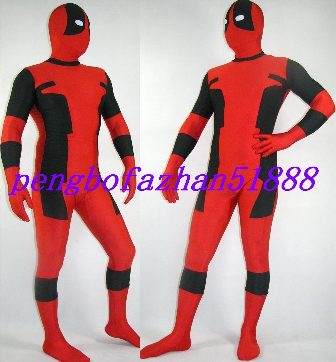 HALLOWEEN COSPLAY SUIT BLACK/RED LYCRA DEADPOOL SUIT CATSUIT COSTUMES S255