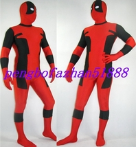 HALLOWEEN COSPLAY SUIT BLACK/RED LYCRA DEADPOOL SUIT CATSUIT COSTUMES S255 image 1