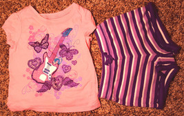 Girl's Sz 12-18 M Month 2 PC TCP Place Pink Butterfly Guitar Glitter Top, Shorts - $17.00