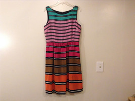 Donna Ricco Women's Size 12 Sleeveless Dress Fit & Flare 80s Multi Color Striped