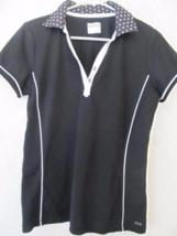 IZOD Golf Black White Polka Dots Short Sleeves Shirt! Sz Medium! 100% Po... - $15.43