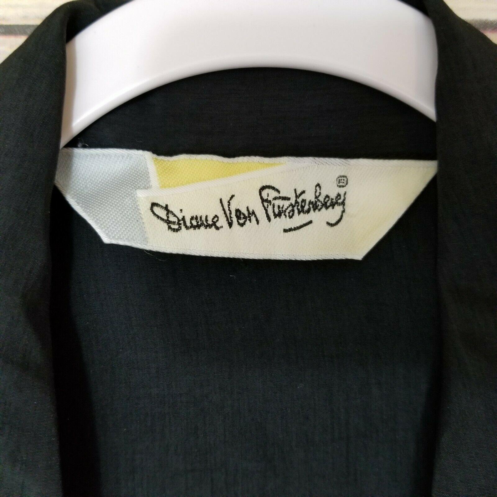 Vtg Diane von Furstenberg DVF Woman's Top Blouse Shirt Button Front Black Sz L image 4