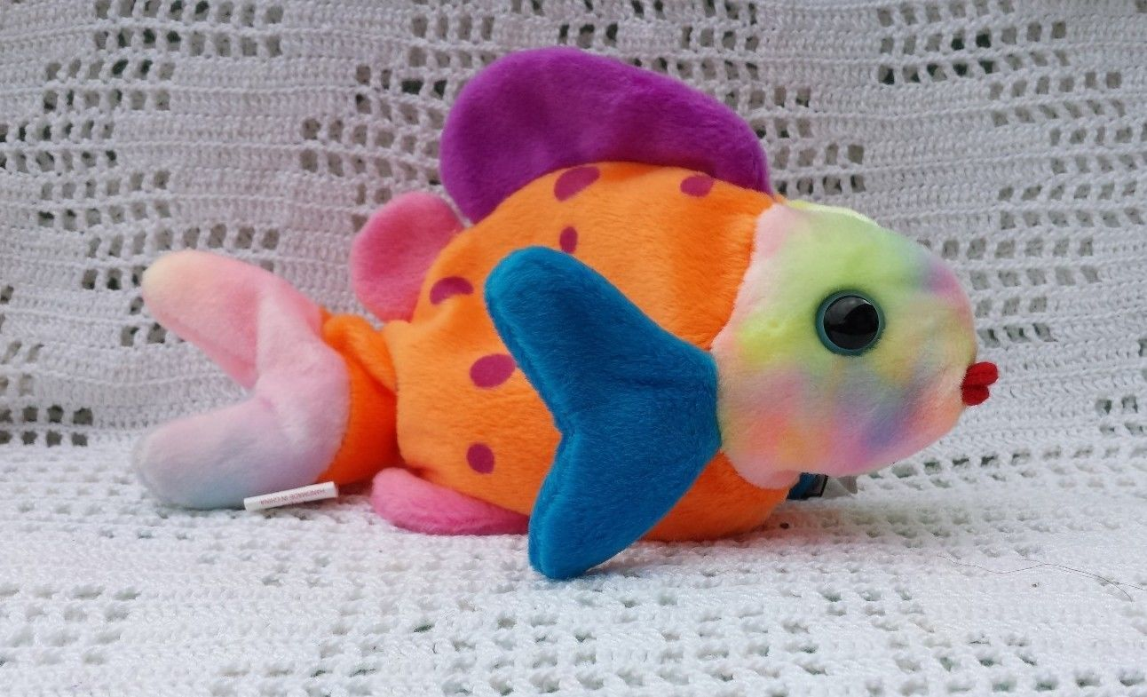Ty Original Beanie Babies Retired Lips the Multi-Color Fish March 1999 MWMT 3+