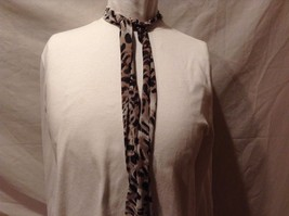 Animal Print Scarf Combo Stripe Black Brown Tan Orange Trapezoid White Spots Two image 3