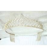 Elegant 1980s Crystal Rhinestone Tiara Crown vintage - $69.95