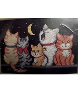 Vtg Counted Cross Stitch KIT~MIDNIGHT MEOW~5 Cu... - $9.89