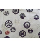 Vtg SILK FABRIC~Ethnic Print:Grey+Black+Metalli... - $34.64