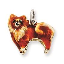 .925 Sterling Silver 3-D Enameled Small Pomeranian Dog Charm Pendant - $88.10