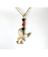 "Eagle Necklace w Swarovski Crystals 16"" .925 S... - $29.99"