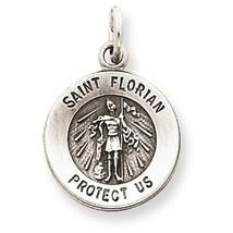 .925 Sterling Silver Antiqued Saint Florian Medal Charm Pendant - $14.08