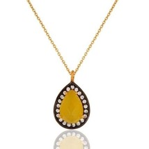 Yellow Moonstone CZ Gemstone Gold Plated 925 Silver Pendant Jewelry - $25.74