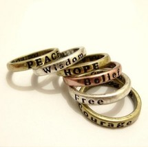 Vintage Carved Letters Ring - $4.80