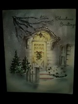 Beautiful Doorway Lights Snow Vintage Christmas Card BOGO Sale  - £10.74 GBP