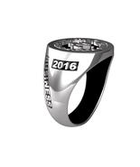 COLLEGE CONTEMPORARY STERLING SILVER RING WITH BLACK ENAMEL - $249.00