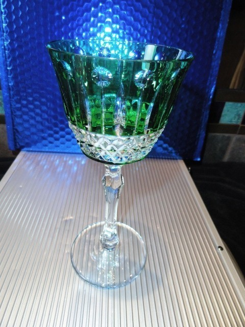 Primary image for  Faberge Xenia Emerald  Green Crystal Wine Glass
