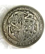 New US Hobo Nickel 1891 Morgan Dollar Skull Zombie Skeleton Carved Caste... - $9.49