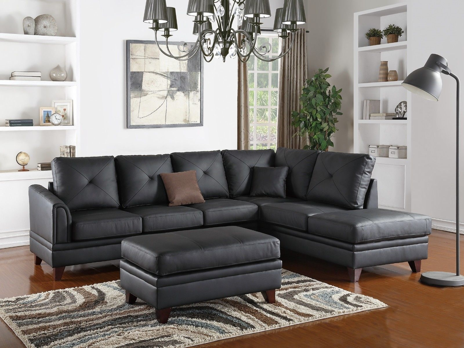 Black sectional sofa 2p set reversible chaise sofa top for Sectional sofa reversible chaise living room furniture