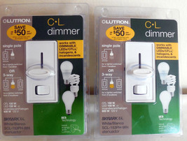 Lot of 2 Lutron C-L Dimmer Skylark White SCL-153PH-WH New in Original Pa... - $49.49