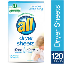 All Dryer Sheets, Free & Clear, 120 Sheets | color: Multicolor | fuelRes... - $13.64