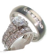 His & Hers 3 Piece Engagement Wedding Ring Set ... - $49.99