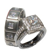 His Hers 3 Piece Halo Cz Wedding Ring Set Stain... - $38.99