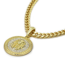 "Men's Medallion Pattern Pharaoh Gold 30"" Cuban Chain Box Double Clip Nec... - $23.75"