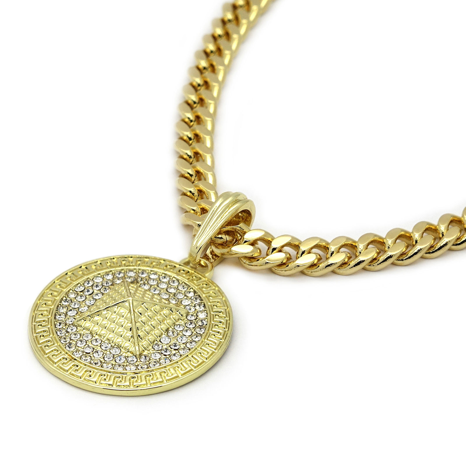 "Men's Medallion Pattern Pyramid Gold 30"" Cuban Chain Box Double Clip Necklace"