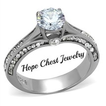 HCJ ANTIQUE STYLE SILVER TONE STAINLESS STEEL CZ ENGAGEMENT RING SIZE 10 - $21.49