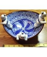 Japanese Ceramic Bowl W/Three Boys & Unique Design OOAK Old! - $40.00