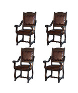 Set Of Four Gran Hacienda Leather Arm Chairs Solid Wood Lodge - $1,885.90