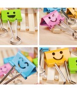 "Deli Happy Smile Face Emoji Binder Clips Stationary 19mm (3/4"") 40 pcs 4... - $8.09"