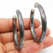 925 Sterling Silver - Vintage Minimalist Dark Tone Round Hoop Earrings - E4562 - $34.27