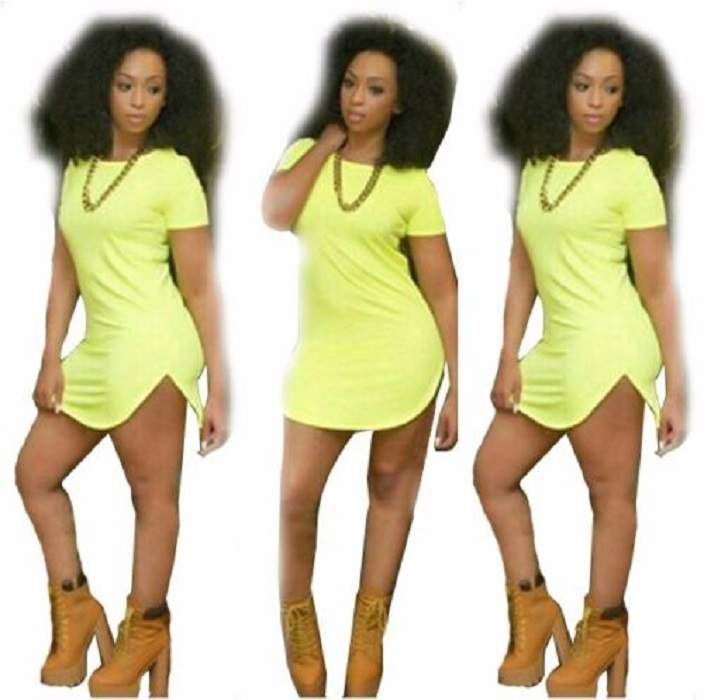 Womens Yellow Sexy T Shirt Dress Long Tops Tee Short