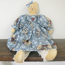 Pretty Kitty Cat Doll in Blue Print Dress (BN-DOL101) - $15.00