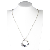 UE- Stylish Silver Tone Designer Necklace With Trendy Circular Pendant - $21.99