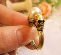 Vintage Skull Pearl Studded Cocktail Ring - $4.49