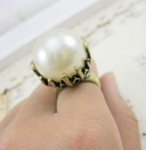 Vintage Big Pearl Cocktail Ring - $2.99