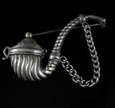Sherlock holmes pipe Brooch Sterling Vintage Mens lapel pin smoking tobacco  - $155.00