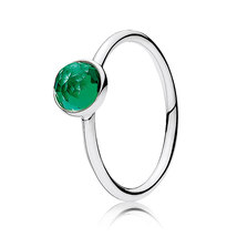 925 Sterling Silver May Droplet & Royal-Green Crystal Birthstone Ring QJCB1008 - $19.99